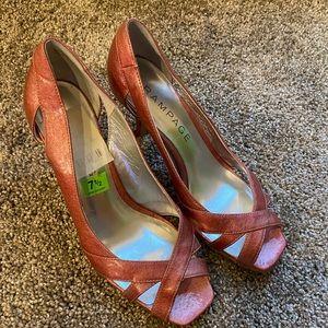 EC Rampage sz 7.5 glossy pink open-toe heel
